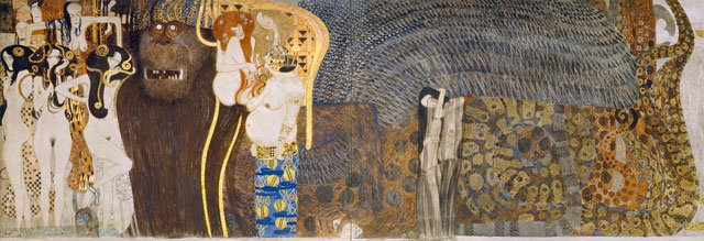 Gustav Klimt. The Hostile Powers (Detail of the Beethoven Frieze), 1901/02. Belvedere, Vienna, © Belvedere, Vienna.