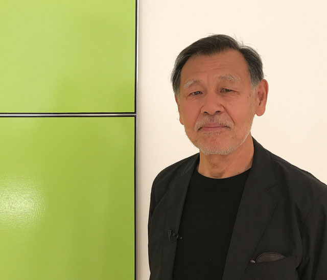 Tadaaki Kuwayama talking to Studio International at the opening of Radical Neutrality at the Mayor Gallery, London, 6 June 2017. Photograph: Martin Kennedy.