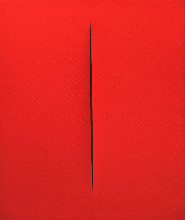 Lucio Fontana. Concetto Spaziale, Attesa, 1965. Waterpaint on canvas, red, 55 x 46 cm. Courtesy Mazzoleni.