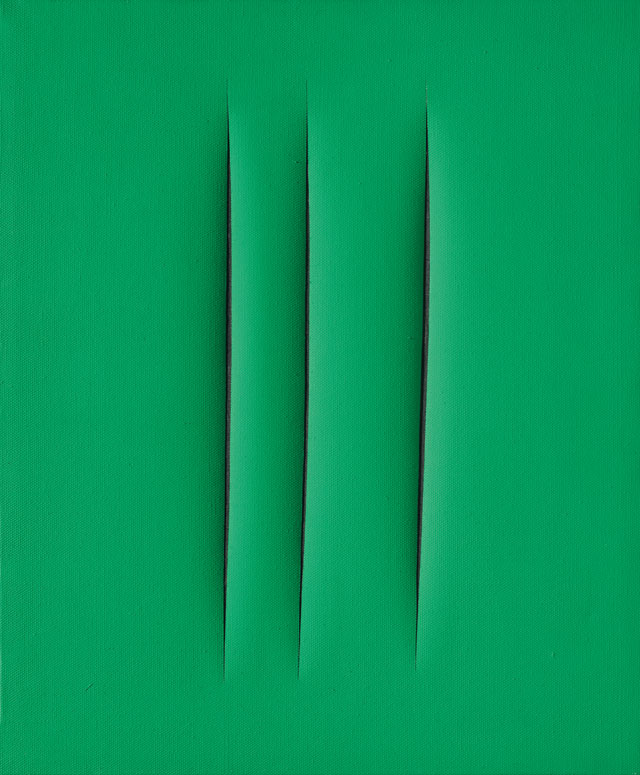 Lucio Fontana. Concetto Spaziale, Attese, 1967. Waterpaint on green canvas, 61 x 50 cm. Courtesy Mazzoleni.