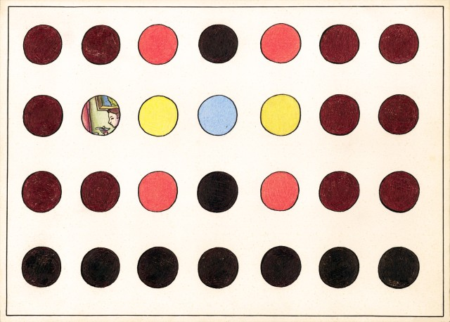 Ilya & Emilia Kabakov. Print With Dots #1, 2012. Woodcut, 47 ¾ x 68 ¼ in (121.5 x 173 cm). Edition of 12.