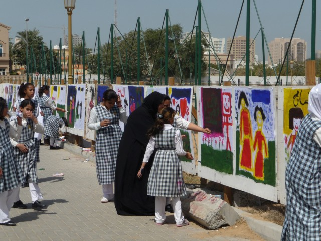 Children Making Drawings for The Ship of Tolerance, Shariah, 2011. Courtesy of Shariah Art Foundation.