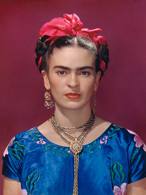 Nickolas Muray. <em>Frida with Blue Satin Blouse</em>, 1939. Carbro print. Photo by Nickolas Muray. © Nickolas Muray Photo Archives.
