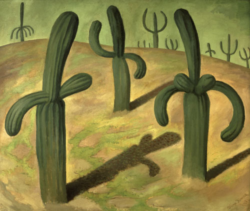 Diego Rivera. <em>Landscape with Cacti</em>, 1931. Oil on canvas. © 2011 Banco de México Diego Rivera Frida Kahlo Museums Trust, Mexico, D.F./DACS.