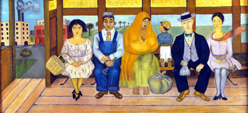 <i>The Bus</i>, 1929. Oil on canvas 260 x 555m. Museo Dolores Olmedo 