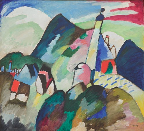 Wassily Kandinsky. <em>Murnau with Church II</em>, 1910. Collection Van Abbe Museum, Eindhoven.