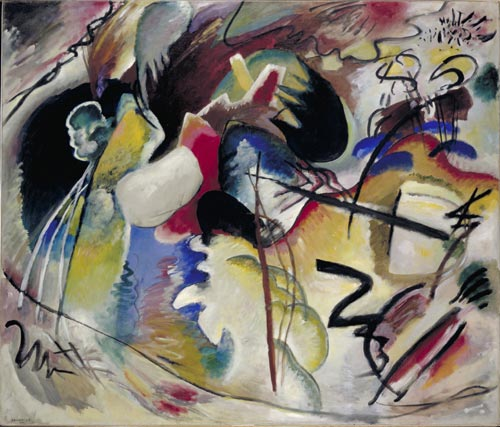 Wassily Kandinsky. <em>Painting with White Form</em>, 1913. Collection of the Gemeentemuseum Den Haag.