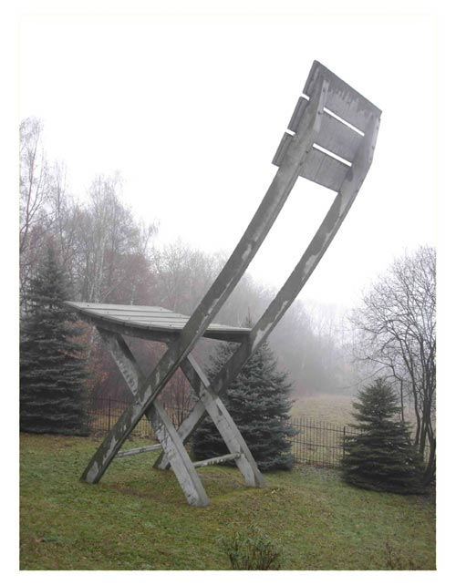 Sculptural Chair designed by Tadeusz Kantor and installed after his death in the garden of his country house in Hucisko, near Krakow