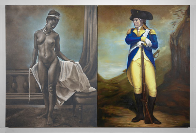 Titus Kaphar. Shifting Skies, 2016. Oil on canvas, diptych: 74 x 53 in (each panel). © Titus Kaphar. Courtesy of the artist and Jack Shainman Gallery.