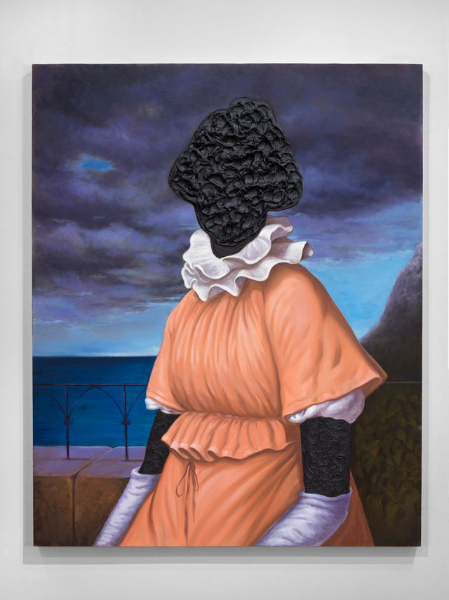 Titus Kaphar. To Be Titled (part of tar portrait series), 2016. Tar and oil on canvas, 60 x 48 in. © Titus Kaphar. Courtesy of the artist and Jack Shainman Gallery.