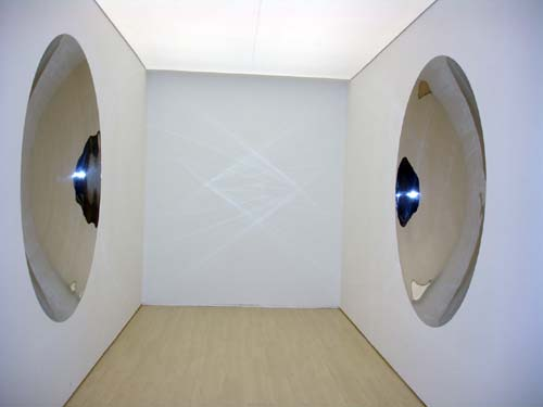 Anish Kapoor. <em>Double Mirror</em>, 1998, stainless steel, two parts, 200 x 200 cm (each). Installation view