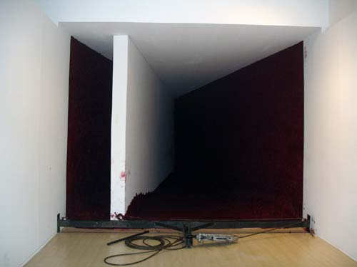 Anish Kapoor. <em>To Divide</em>, 2006, 5 tons of special red wax and a thick 11-metre-long wooden wall. Installation view.