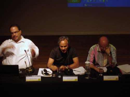 Brazilian curator, Marcello Dantas, Anish Kapoor and the Brazilian art critic Agnaldo Farias, Kapoor's lecture in CCBB, São Paulo, 28 January 2007.