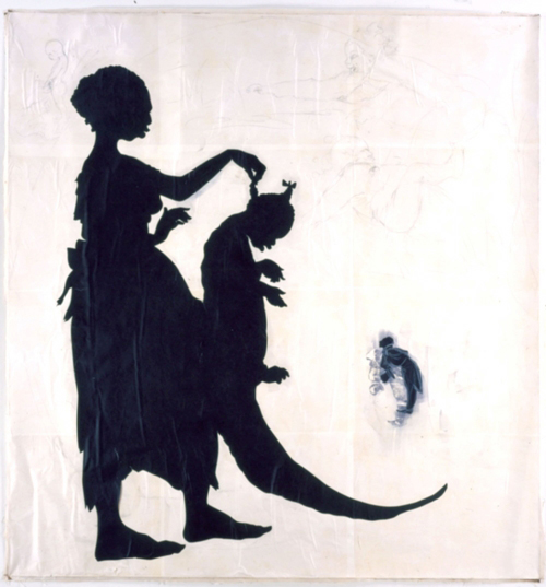 Kara Walker, <strong><em>Untitled, </em></strong>1996. Cut paper and watercolor and graphite on canvas 69 1/2 x 66 inches. Courtesy of Sikkema Jenkins & Co.