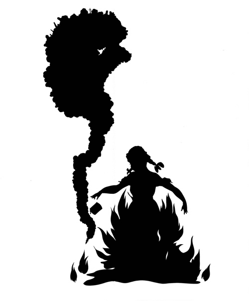 Kara Walker, <strong><em>Burn, </em></strong>1998. Cut paper and adhesive 92 x 48 in. Courtesy of Sikkema Jenkins & Co.