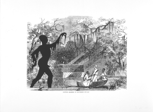 Kara Walker, <em><strong>'Cotton Hoards in Southern Swamp, Harper's Pictorial History of the Civil War'</strong></em> <strong>(Annotated)</strong>, 2005. Offset Lithography/Silkscreen 39 x 53 inches. Courtesy of Sikkema Jenkins & Co.