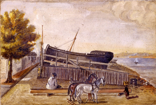William P. Chappel (ca 1800 – 1880), <em><strong>Berg's Ship Yard</strong></em>. Oil on slate paper H. 6 – 1/8 in. W. 9-1/8 in. (15.6 x 23.2cm.). The Metropolitan  Museum of Art