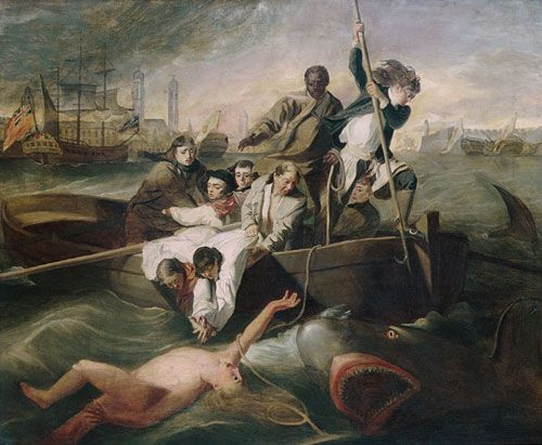 Unknown maker, artist; After John Singleton Copley (1738-1820), <strong><em>Watson and the Shark</em></strong>, ca. 1778. Oil on canvas 24 7/8 x 30 1/8 in. (63.2 x 76.5 cm). The Metropolitan Museum of Art