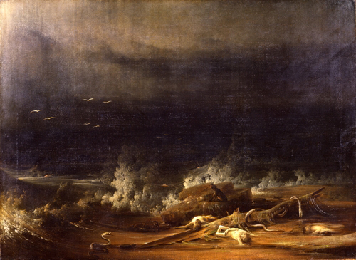 Shaw (ca. 1777–1860); Formerly attributed to Washington Allston, (1779–1843), <strong><em>The Deluge towards Its Close</em></strong>, ca. 1813<em>. </em>Oil on canvas 48 1/4 x 66 in. (122.6 x 167.6 cm). The Metropolitan Museum of Art