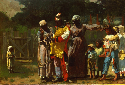 Winslow Homer (1836-1910), <strong><em>Dressing for the Carnival</em></strong>, 1877. Oil on canvas 20 x 30 in. (50.8 x 76.2 cm). The Metropolitan Museum of Art