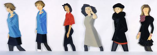 Alex Katz. Black Stockings, 1987. Oil on aluminum (6 pieces), overall size: 66 x 240 in (167.6 x 609.6 cm). © Alex Katz/Licensed by VAGA, New York, NY; Courtesy, Timothy Taylor Gallery, London.