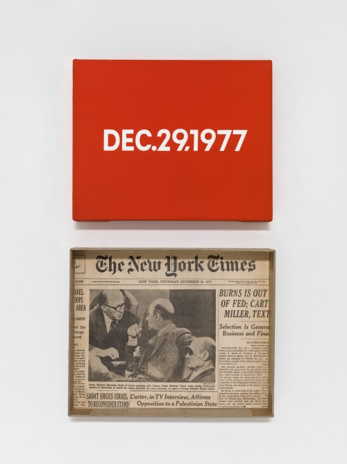 On Kawara. DEC. 29, 1977. 'Thursday'. New York. From Today, 1966-2013. Acrylic on canvas, 8 x 10 in (20.3 x 25.4 cm). Pictured with artist-made cardboard storage boxes, 10 1/2 x 10 3/4 x 2 in (26.8 x 27.2 x 5 cm). Private collection. Photograph: Courtesy David Zwirner, New York/London.