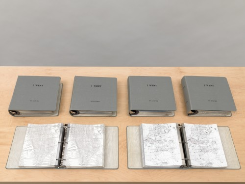 On Kawara. I Went, 1968-79. Clothbound loose-leaf binders with plastic sleeves and inserted printed matter. Twenty-four volumes, 11 1/2 x 11 13/4 x 3 in (29.2 x 29.8 x 7.6 cm) each. Sleeve size: 11 1/16 x 8 5/8 in (28.1 x 21.9 cm). Inserts: Ink on photocopy, 11 x 8 in (27.9 x 20.3 cm) each. Collection of the artist.
