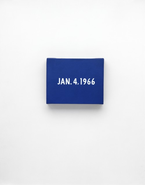 On Kawara. JAN. 4, 1966. 'New York's traffic strike'. New York. From Today, 1966-2013. Acrylic on canvas, 8 x 10 in (20.3 x 25.4 cm). Private collection. Photograph: Courtesy David Zwirner, New York/London.