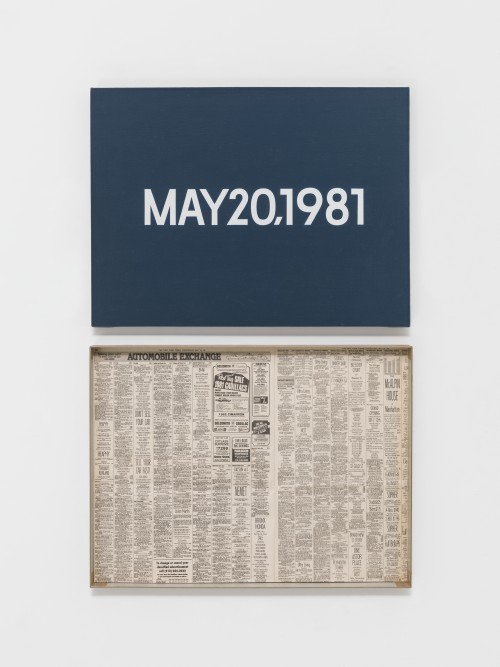 On Kawara. MAY 20, 1981. 'Wednesday.' New York. From Today, 1966-2013. Acrylic on canvas, 18 x 24 in (45.7 x 61 cm). Pictured with artist-made cardboard storage boxes, 24 5/8 x 18 5/8 x 2 in (62.5 x 47.3 x 5 cm). Private collection. Photograph: Courtesy David Zwirner, New York/London.