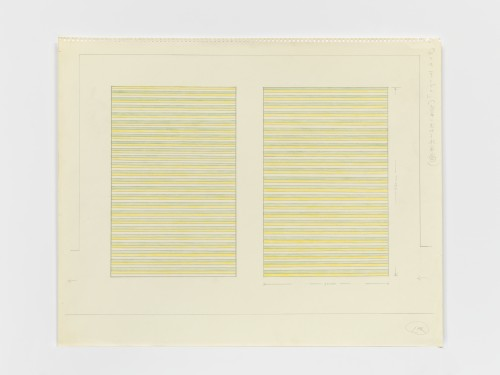 On Kawara. Paris–New York Drawing no. 144, 1964. Graphite and coloured pencil on paper, perforated top edge, 4 9/16 x 18 1/16 in (37 x 46 cm). Collection of the artist. Photograph: Courtesy David Zwirner, New York/London.