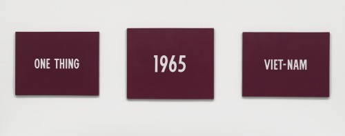 On Kawara. Title, 1965. Acrylic on canvas, triptych. Left panel: 46 3/8 x 61 3/8 in (117.8 x 155.9 cm); centre panel: 51 1/4 x 62 3/4 in (130.2 x 159.4 cm); right panel: 46 1/4 x 61 3/8 in (117.5 x 155.9 cm). National Gallery of Art, Washington D.C., Patronsí Permanent Fund.