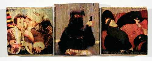 John Keane. Bitch Triptych, 2005. Inkjet, gold leaf on wood © John Keane, courtesy of Flowers Gallery London and New York.