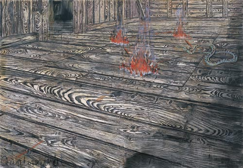 Anselm Kiefer.<em> Quaternity</em> 1973. Oil and charcoal on burlap, 117 1/2 x 170 1/4 in (298.4 x 432.4 cm).