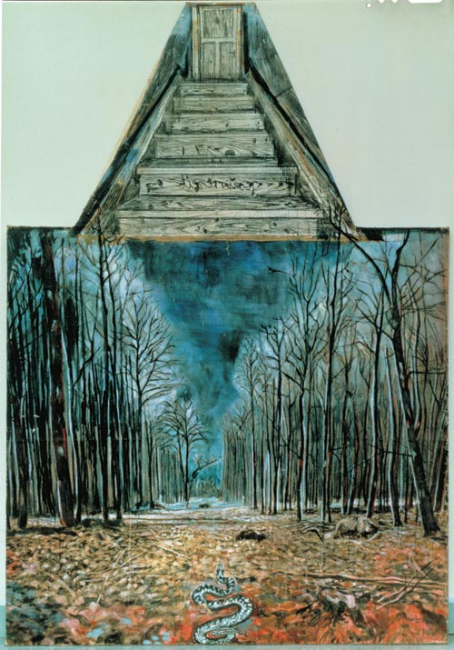 Anselm Kiefer.<em> Resurrexit</em> 1973. Oil, acrylic, and charcoal on burlap, 114 3/16 x 70 7/8 in (290 x 180 cm).