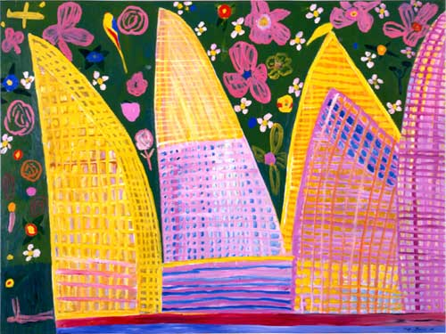 Opera House and Botanic Gardens, 1998, acrylic on canvas, 150 x 200 cms