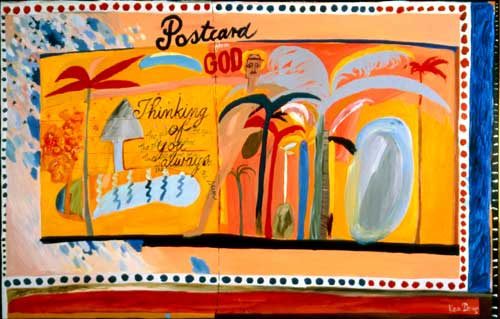 Postcard from God, 1976, oil on canvas, 110 x 104 cms