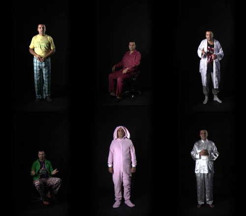Kennedy Browne. How Capital Moves - all five characters, 2010. Composite film still. Two channel video installation, 26 min. Courtesy the artists.