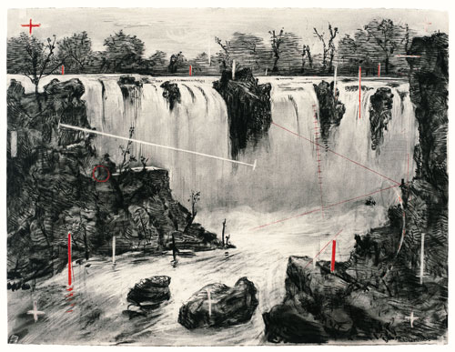 William Kentridge. Colonial Landscape (Falls looking Upstream), 1996. Charcoal and pastel on paper, 135.9 x 175.5 cm (53 ½ x 69 1/8 in). gordonschachatcollection.