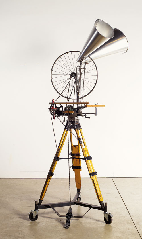 William Kentridge. Bicycle Wheel, 2012. Mixed media, height: 260 cm (102 3/8 in); Base: 100 x 100 cm (39 3/8 x 39 3/8 in). Collection of the artist, courtesy Marian Goodman Gallery, New York, and Goodman Gallery, Johannesburg.