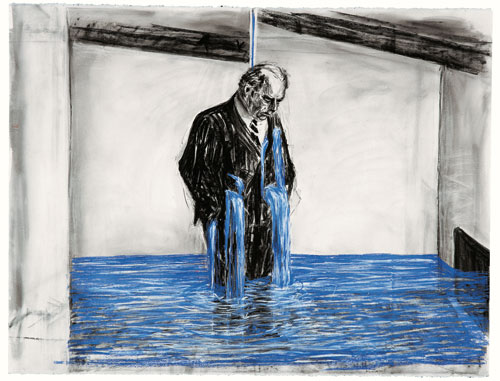 William Kentridge. Drawing for the film Stereoscope, 1999. Charcoal and pastel on paper, 120 x 160 cm (47 ¼ x 63 in). Collection Johannesburg Art Gallery.