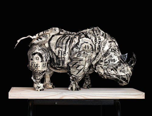 William Kentridge. Rhinoceros, 2007. Foamcore, glue, paper, charcoal, encyclopedia pages and printed pages, 37 x 65 x 30 cm (14 5/8 x 25 5/8 x 11 7/8 in). Collection of the artist, courtesy Marian Goodman Gallery, New York, and Goodman Gallery, Johannesburg.