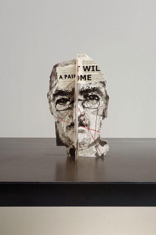 William Kentridge. Head I from the series Four Paper Heads, 2007. Lithography, letterpress, coloured pencil, watercolour and chine-collé. Approx. 37 x 25 x 20 cm (14 5/8 x 9 7/6 x 7 7/8 in). Edition of 25. Collection Goodman Gallery, Johannesburg.
