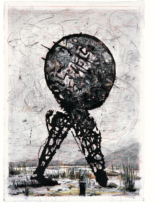 William Kentridge. Drawing for Il Sole 24 Ore: Domenica (World on its Hind Legs), 2007. Charcoal and pastel on paper 213.5 x 150 cm (84 1/8 x 59 1/8 in). Collection of the artist, courtesy Marian Goodman Gallery, New York, and Goodman Gallery, Johannesburg.