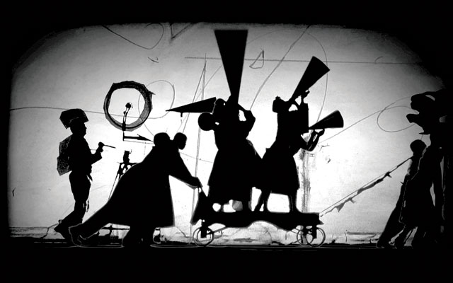 William Kentridge. The Refusal of Time, with collaboration of Philip Miller, Catherine Meyburgh and Peter Galison. Film still, 2012, 5-channel video projection, colour, sound, megaphones, breathing machine, 30 min. Courtesy William Kentridge, Marian Goodman Gallery, Goodman Gallery and Lia Rumma Gallery.