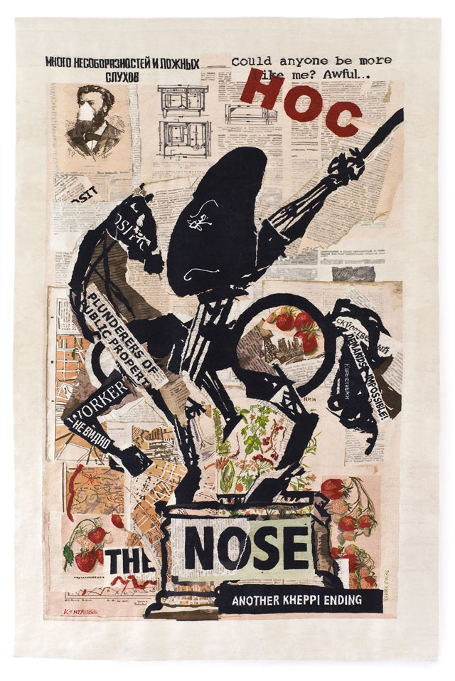 William Kentridge. The Nose (with Strawberries), 2012. Tapestry weave with embroidery. Warp: polyester; Weft and embroidery: mohair, acrylic and polyester, 340 x 230 cm. Woven by the Stephens Tapestry Studio. Courtesy William Kentridge, Marian Goodman Gallery, Goodman Gallery and Lia Rumma Gallery.