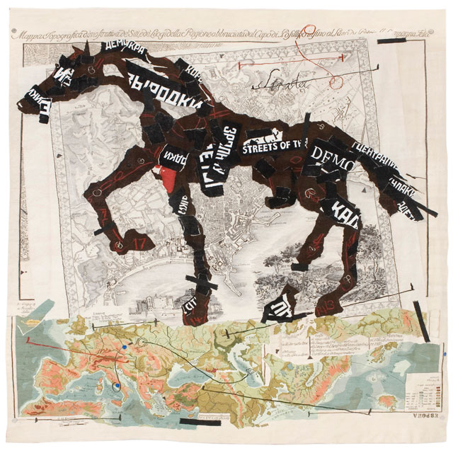 William Kentridge. Streets of the City, 2009. Tapestry weave with embroidery. Warp: polyester; Weft and embroidery: mohair, acrylic and polyester, 440 x 443 cm. Woven by the Stephens Tapestry Studio. Courtesy William Kentridge, Marian Goodman Gallery, Goodman Gallery and Lia Rumma Gallery.