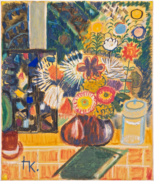 Ida Kerkovius. Blumenstillleben mit Glasfenster (Still life with flowers and window), c1955. Pastel and mixed media on cream paper, 59.1 x 50.1 cm. Collection Prof. Dr. Gerhard Kluge. Photograph: Kunstsammlungen Chemnitz/László Tóth. © Kerkovius family archive, Wendelstein 2014.