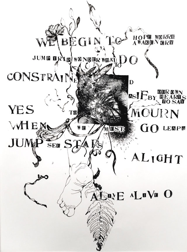 Susan Webster (image), Stuart Kestenbaum (text), Alive-O, 2016. Monotype, ink drawing, letter stamps, on paper, 56 x 76 cm (22 x 30 in). © the artists.