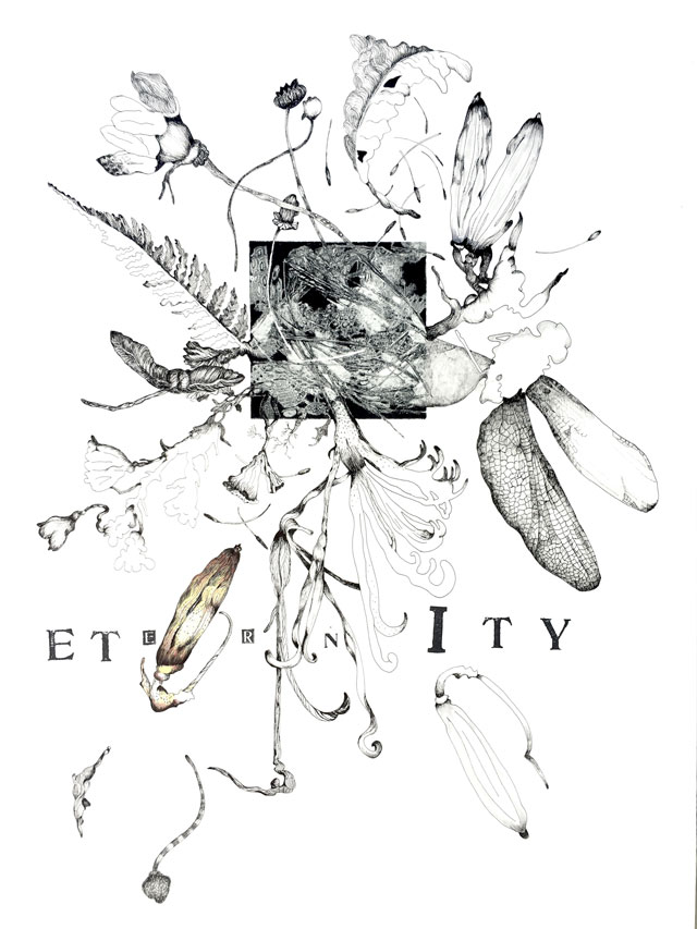 Susan Webster (image), Stuart Kestenbaum (text), Eternity, 2016. Monotype, ink drawing, letter stamps, on paper, 56 x 76 cm (22 x 30 in). © the artists.