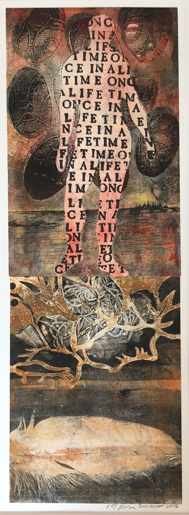 Susan Webster (image), Stuart Kestenbaum (text), Once in a Lifetime, 2016. Monotype, letter stamps, on paper, 15 x 36 cm (6 x 14 in). © the artists.